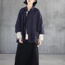 Load image into Gallery viewer, stylish dark blue  linen tops plus size linen clothing tops casual lapel collar Chinese Button cotton shirts