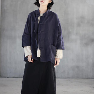 stylish dark blue  linen tops plus size linen clothing tops casual lapel collar Chinese Button cotton shirts
