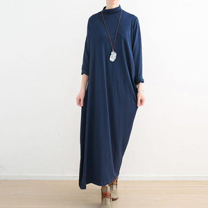 winter outfits blue 2018 fall dress Loose fitting high neck traveling dress women asymmetric dresses
