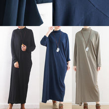 Laden Sie das Bild in den Galerie-Viewer, winter outfits blue 2018 fall dress Loose fitting high neck traveling dress women asymmetric dresses