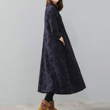Load image into Gallery viewer, stylish dark blue oversized stand collar print linen maxi dress women Chinese Button pockets kaftans