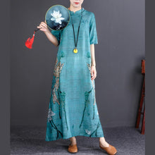 Load image into Gallery viewer, stylish dark blue print long cotton linen dress oversize Stand linen maxi dress vintage long sleeve baggy dresses