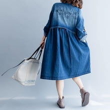 Load image into Gallery viewer, stylish denim blue cotton dresses trendy plus size cotton maxi dress embroidery women stand collar cotton dress