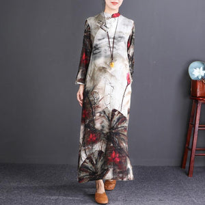 stylish floral cotton linen maxi dress Loose fitting Stand pockets 2018 long sleeve maxi dresses
