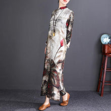 Load image into Gallery viewer, stylish floral cotton linen maxi dress Loose fitting Stand pockets 2018 long sleeve maxi dresses