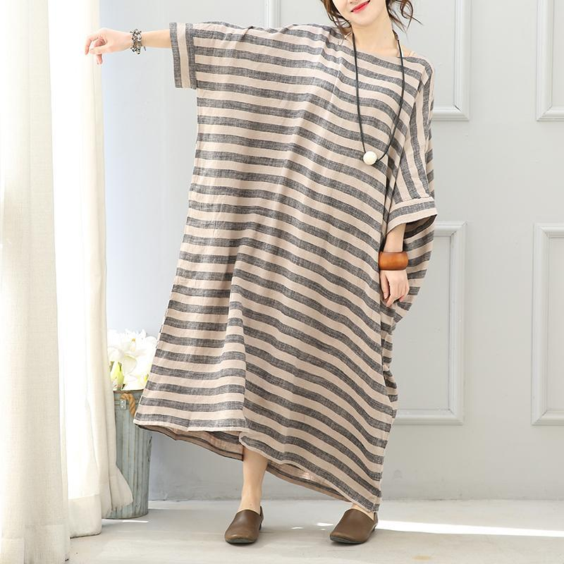 stylish gray striped linen dress oversize O neck baggy dresses linen gown women batwing sleeve baggy dresses