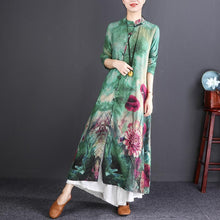 Load image into Gallery viewer, stylish green print long cotton linen dresses plus size Stand vintage long sleeve baggy shirt dresses