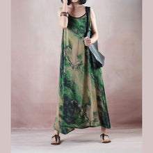 Load image into Gallery viewer, stylish green print silk dress plus size o neck back side open gown boutique Spaghetti Strap caftans