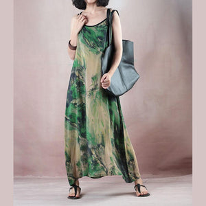 stylish green print silk dress plus size o neck back side open gown boutique Spaghetti Strap caftans