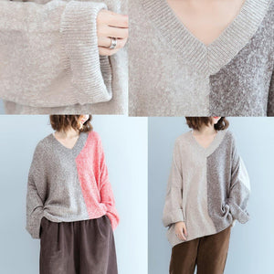 stylish light gray patchwork dark gray  knit tops plus size v neck knitted tops vintage loose sleeve fall blouse