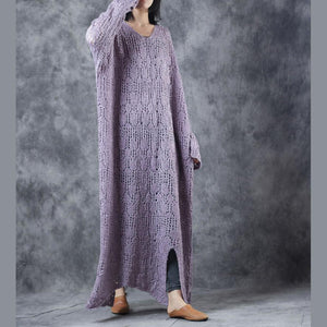 stylish light purple knit dresses Loose fitting v neck sweater women hollow out pullover