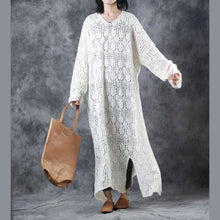 Load image into Gallery viewer, stylish light purple knit dresses Loose fitting v neck sweater women hollow out pullover