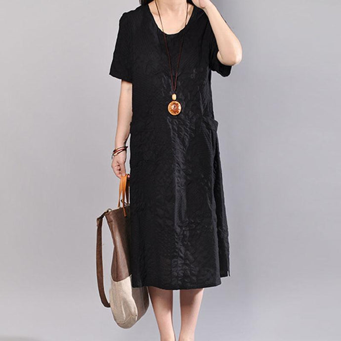 stylish long cotton dress plus size Casual Summer V Neck Short Sleeve Black Pullover Dress