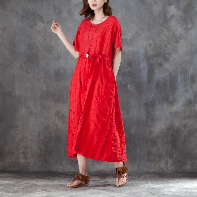 stylish long cotton linen dresses trendy plus size Women Red cotton Linen Lacing Casual Short Sleeve Dress