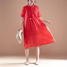 Load image into Gallery viewer, stylish long ramie dresses plus size Embroidery Stand Collar Short Sleeve Ramie Red Dress