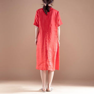 stylish long ramie dresses plus size Embroidery Stand Collar Short Sleeve Ramie Red Dress
