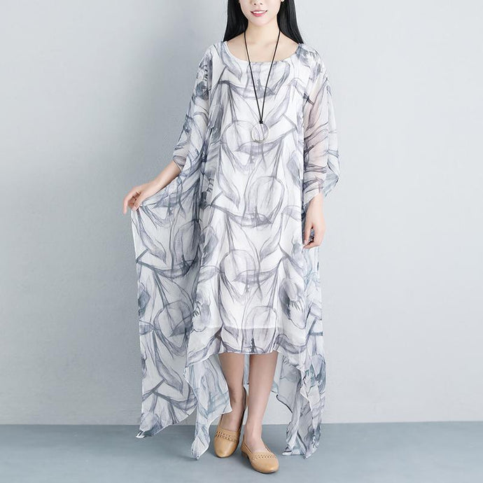 stylish long silk cotton dress oversized Summer Loose Casual Fake Two piece Half Sleeve Gray Long Dress