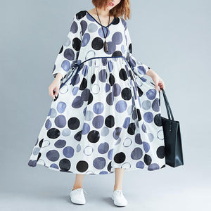 stylish navy dotted long cotton dress Loose fitting v neck patchwork cotton maxi dress casual long sleeve dresses