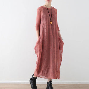 stylish pink cotton linen caftans oversize O neck Jacquard dresses New two-pieces autumn dress