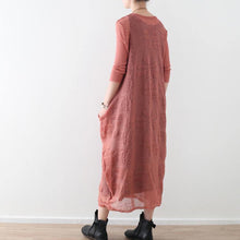 Load image into Gallery viewer, stylish pink cotton linen caftans oversize O neck Jacquard dresses New two-pieces autumn dress