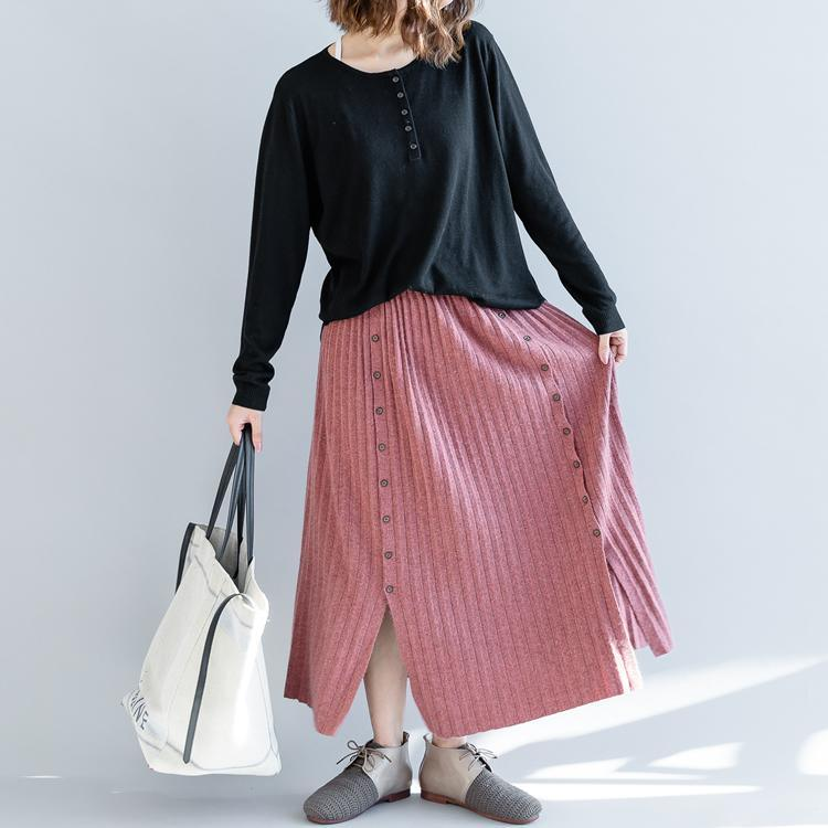 stylish pink knit skirts plus size side open skirt women elastic waist long skirts