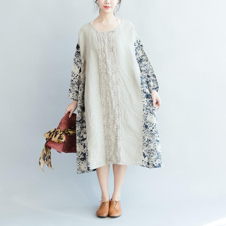stylish print pure linen dress plus size autumn asymmetric dress long sleeve hollow out top quality O neck patchwork linen dresses
