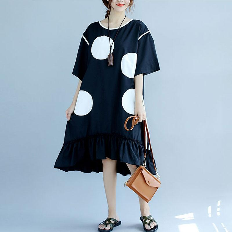 stylish pure cotton dress plus size clothing Stylish White Applique Dot Round Neck Short Sleeve Women Black Dress
