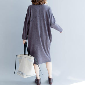 stylish purple gray  sweater dresses plus size o neck long knit sweaters women pockets sweater