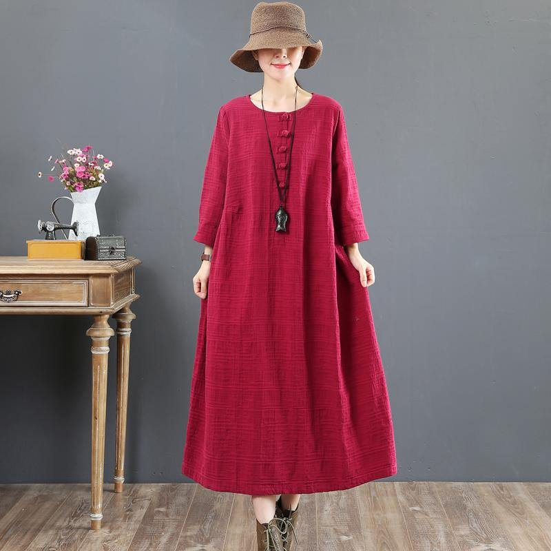 stylish red  cotton dresses casual cotton clothing dresses Chinese Button women o neck cotton clothing dress