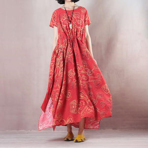 stylish red linen maxi dress casual O neck print traveling clothing women short sleeve baggy dresses