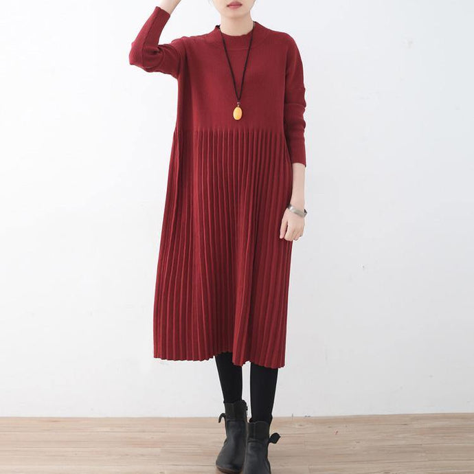 stylish red long sweaters plus size clothing high neck winter dresses New wrinkled dresses