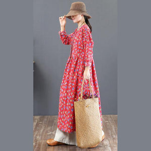 stylish red prints cotton caftans plus size o neck traveling clothing vintage tunic autumn dress