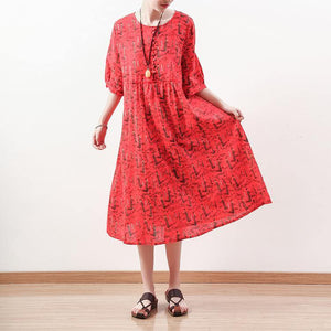 stylish red prints linen maxi dress trendy plus size half sleeve traveling dress boutique o neck caftans