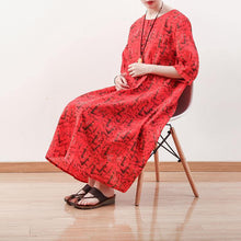 Laden Sie das Bild in den Galerie-Viewer, stylish red prints linen maxi dress trendy plus size half sleeve traveling dress boutique o neck caftans