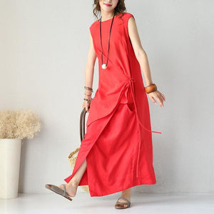 stylish red silk linen dress Loose fitting O neck clothing dress 2018 sleeveless tie waist maxi dresses