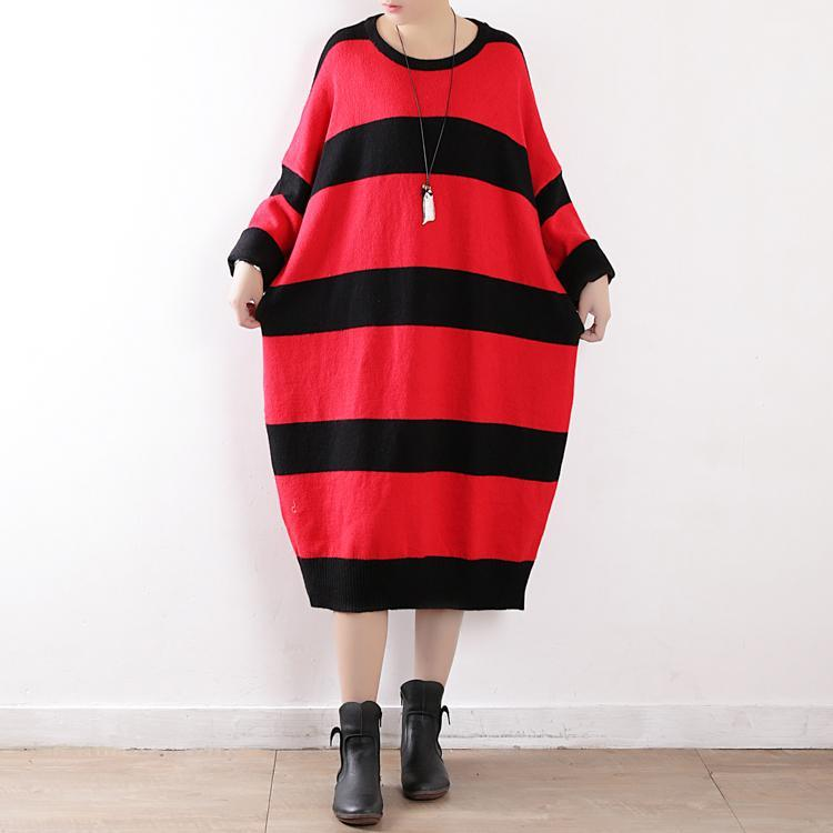 stylish red striped spring dresses plus size o neck spring dresses Batwing Sleeve  pullover