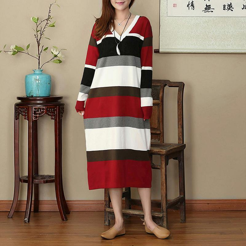 stylish red white striped oversize V neck caftans New long sleeve slim flattering maxi dresses