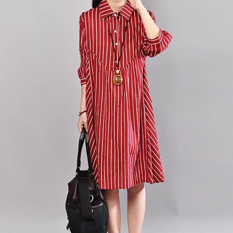 stylish summer dress plus size Stripe Polo Collar Half Sleeve Cotton Red Pullover Dress