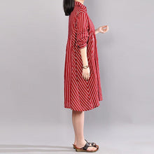 Load image into Gallery viewer, stylish summer dress plus size Stripe Polo Collar Half Sleeve Cotton Red Pullover Dress