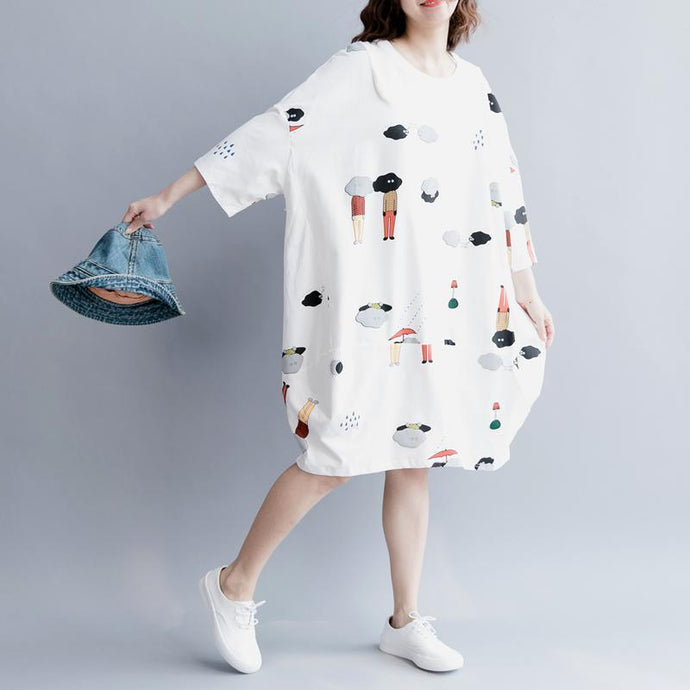 stylish white cotton knee dress plus size traveling clothing Elegant half sleeve baggy dresses O neck print cotton clothing dresses