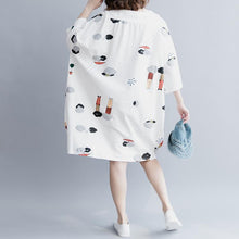 Load image into Gallery viewer, stylish white cotton knee dress plus size traveling clothing Elegant half sleeve baggy dresses O neck print cotton clothing dresses