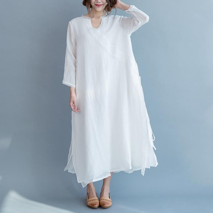 stylish white cotton linen dress plus size v neck tie waist gown women long sleeve patchwork cotton linen dresses