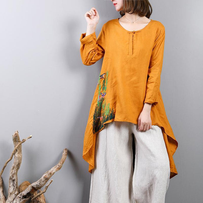 stylish yellow  linen blouse plussize casual cardigans top quality asymmetric hem embroidery linen clothing t shirt