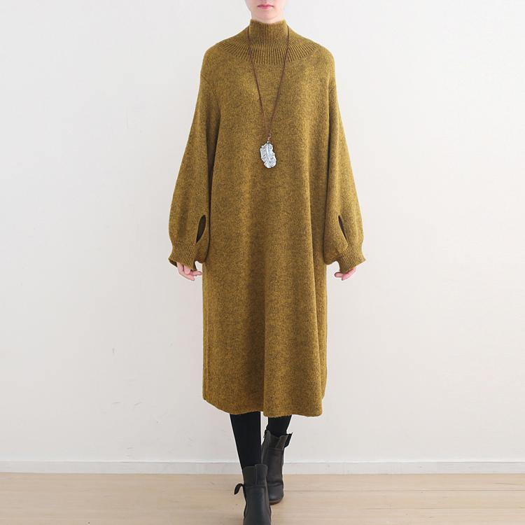 stylish yellow sweater dress oversized high neck spring dress women Puff Sleeve pockets winter dresses