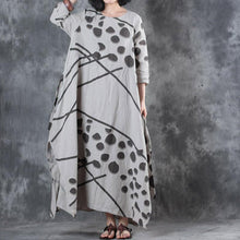 Load image into Gallery viewer, stylish beige prints  natural linen dress  oversized side open linen gown casual drawstring maxi dresses