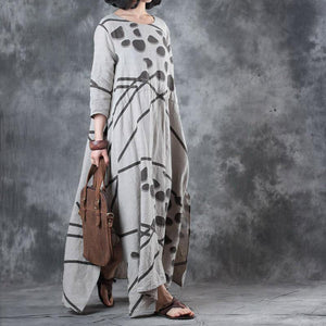 stylish beige prints  natural linen dress  oversized side open linen gown casual drawstring maxi dresses