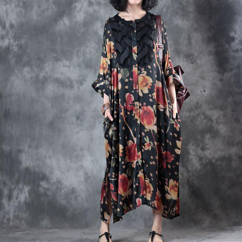 stylish black floral  long chiffon dress plus size clothing bracelet sleeved traveling clothing Elegant o neck two ways to wear chiffon caftans