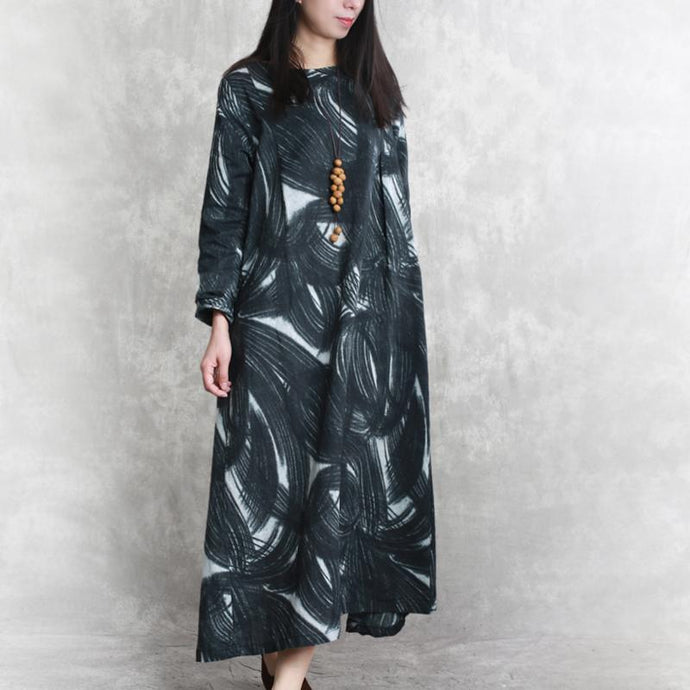 stylish black prints linen dress casual long sleeve linen clothing dresses women o neck gown