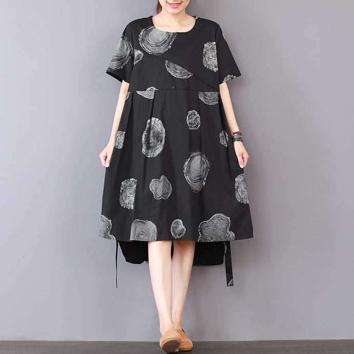stylish black prints pure linen dresses oversize linen clothing dresses casual low high design patchwork knee dresses
