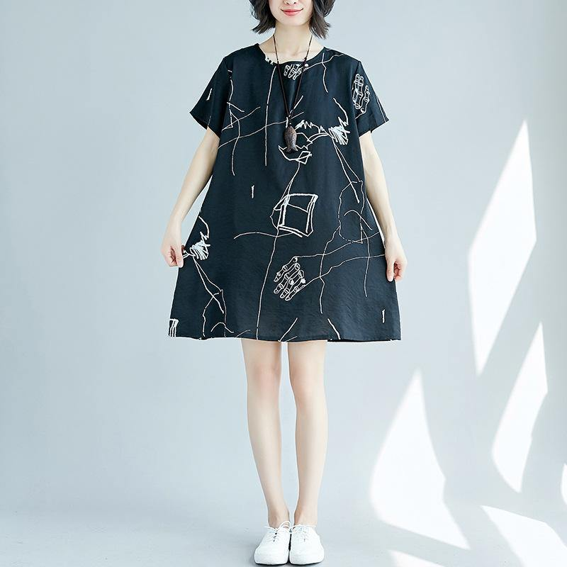 stylish black prints pure linen dresses  plus size linen clothing dresses boutique o neck patchwork linen dress